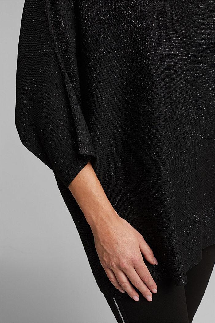 Glittering ribbed jumper, BLACK, detail image number 5
