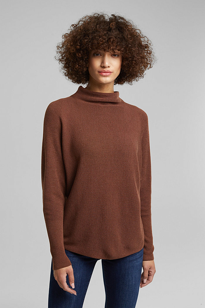 Jumper with batwing sleeves, BROWN, detail image number 0
