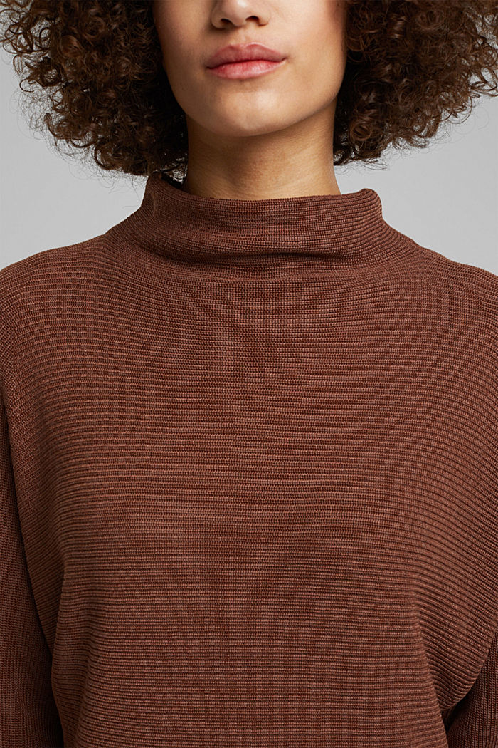 Jumper with batwing sleeves, BROWN, detail image number 2