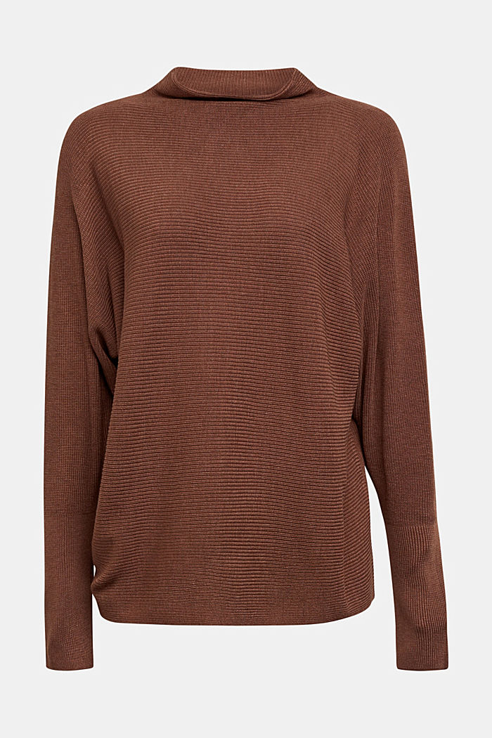 Jumper with batwing sleeves, BROWN, detail image number 6