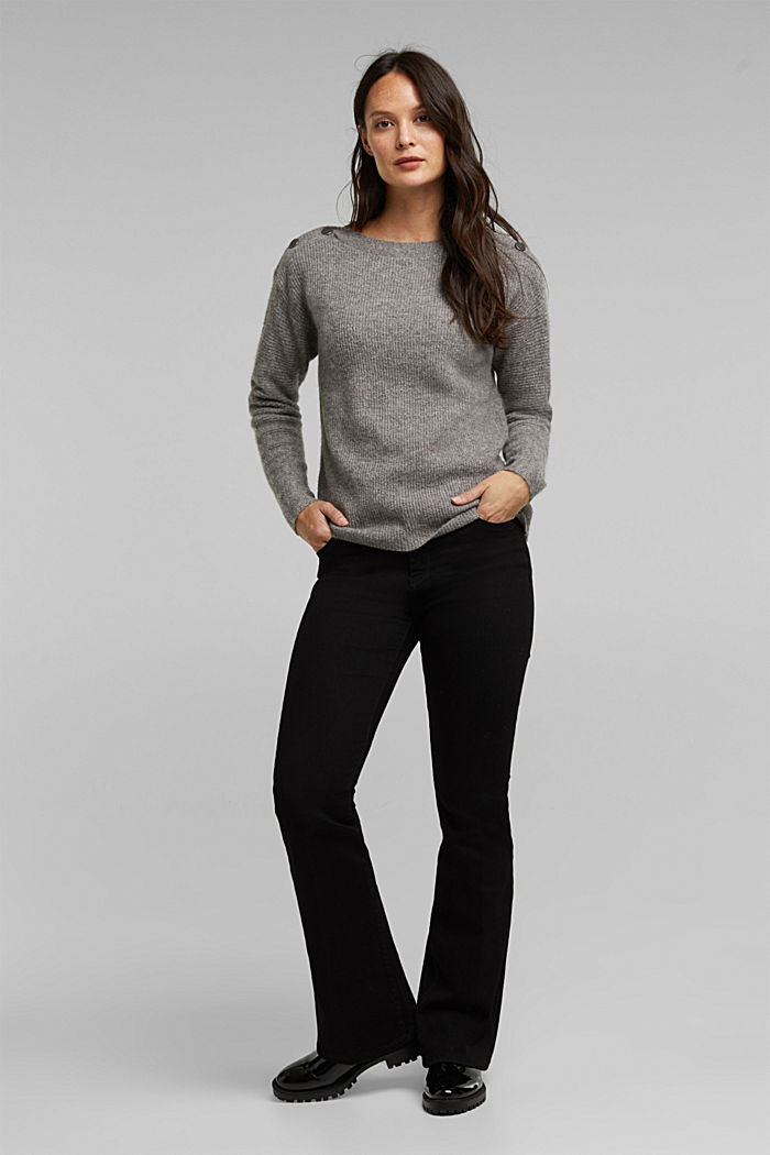 Wool blend: Jumper with button details, GUNMETAL, detail image number 1