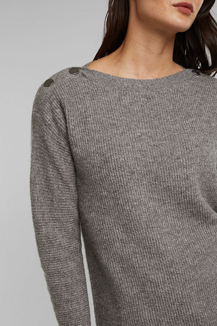 Wool blend: Jumper with button details, GUNMETAL, detail image number 2