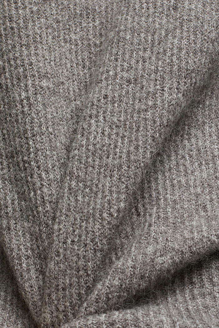 Wool blend: Jumper with button details, GUNMETAL, detail image number 4