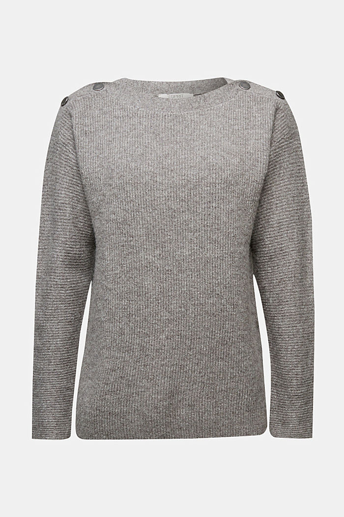 Wool blend: Jumper with button details, GUNMETAL, detail image number 6