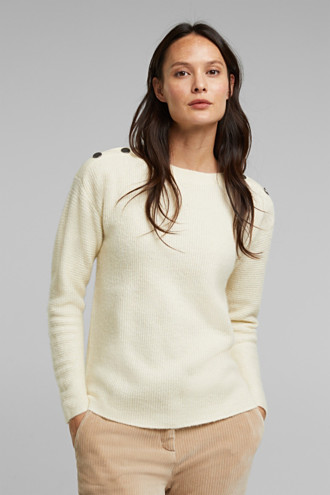 Wool blend: Jumper with button details