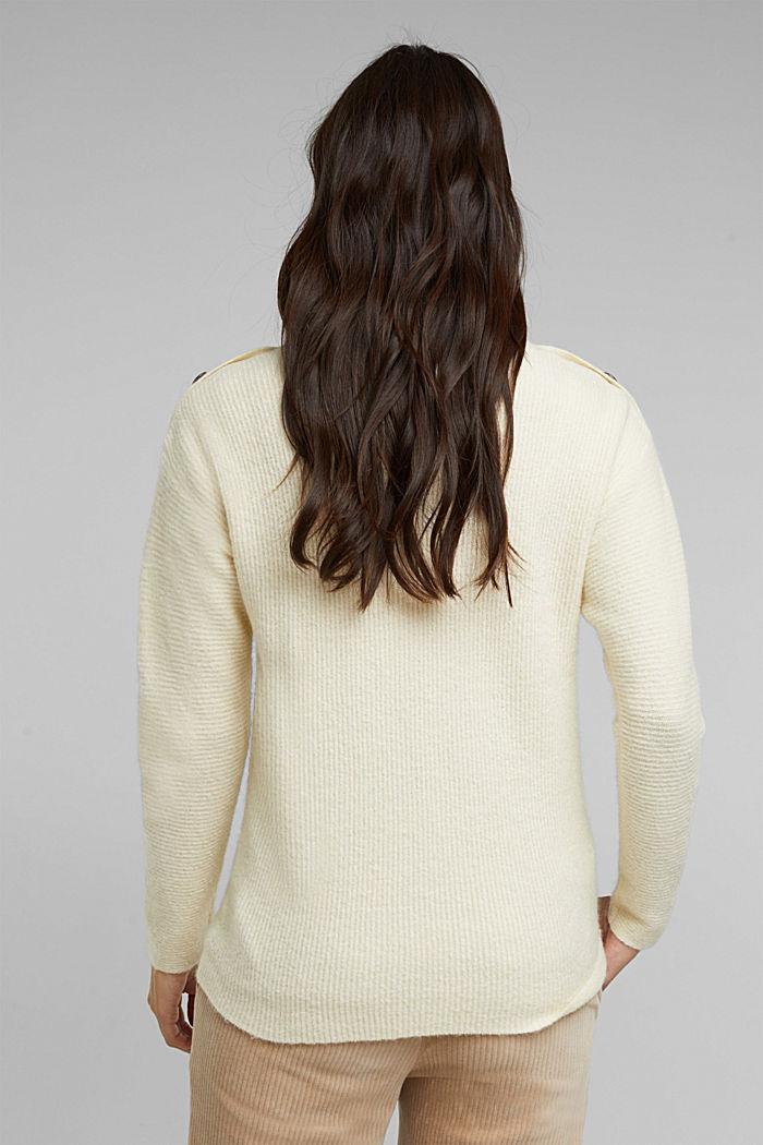 Wool blend: Jumper with button details, CREAM BEIGE, detail image number 3