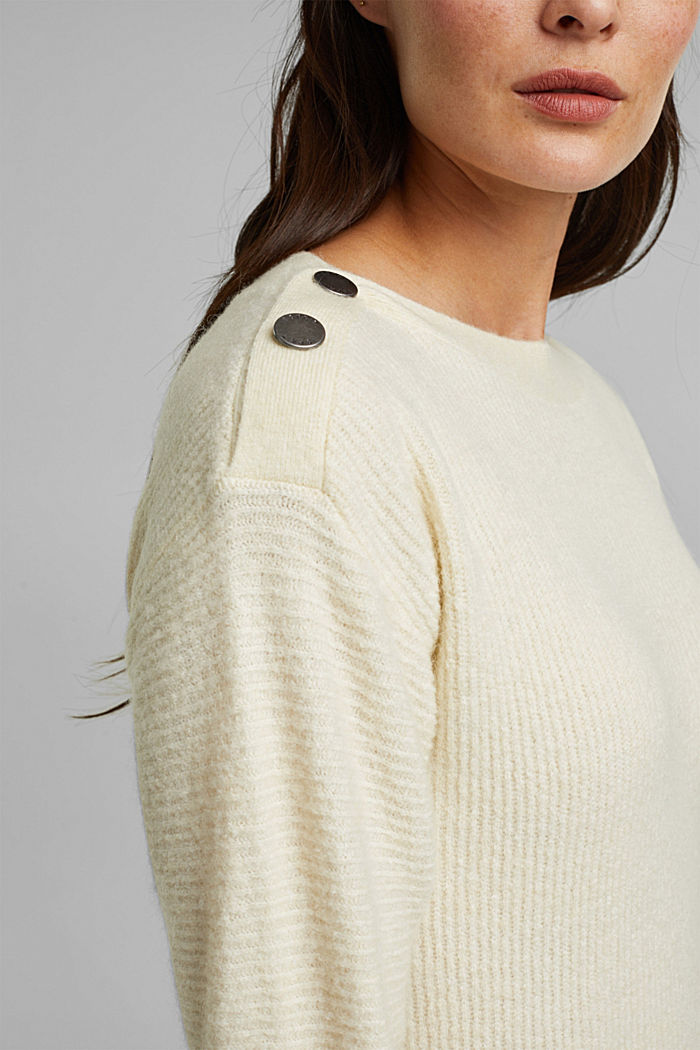 Wool blend: Jumper with button details, CREAM BEIGE, detail image number 2