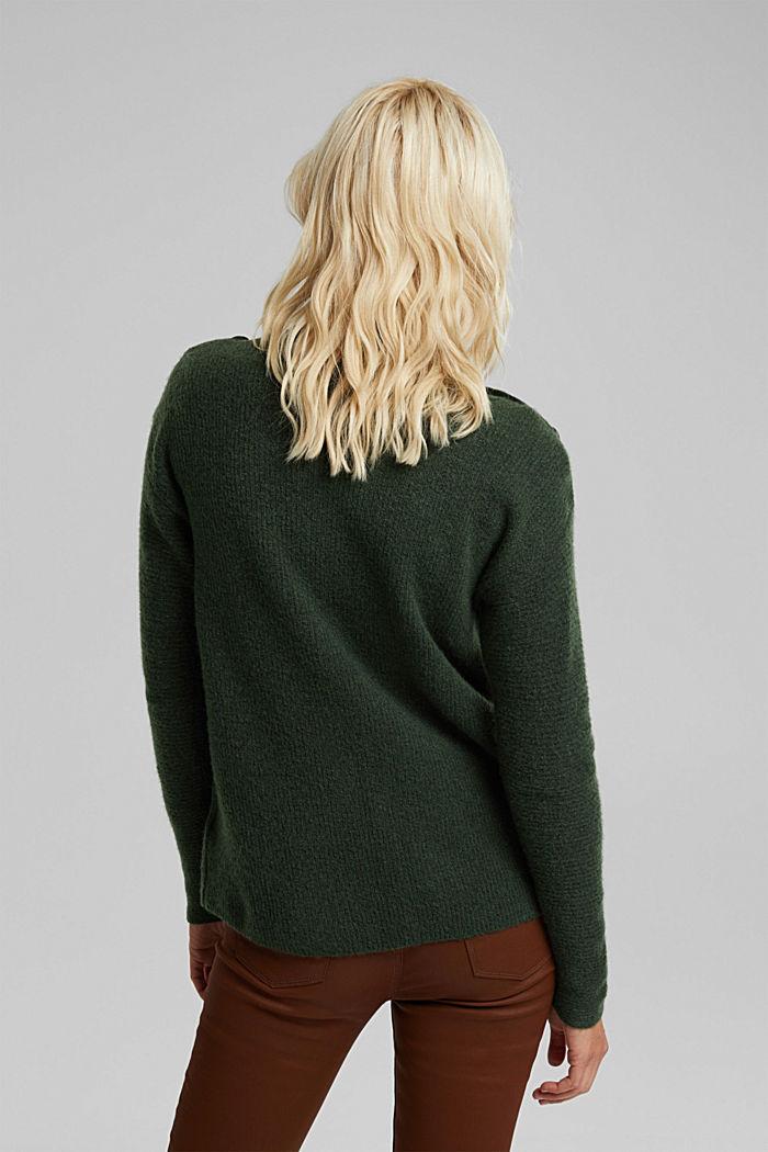 Wool blend: Jumper with button details, DARK GREEN, detail image number 3