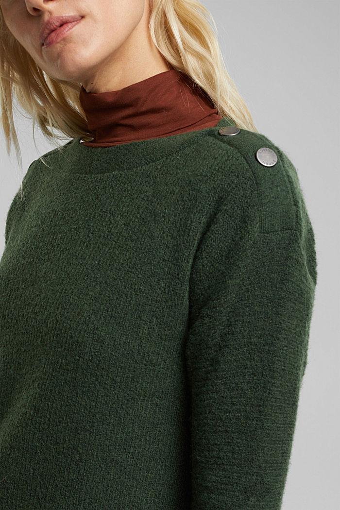 Wool blend: Jumper with button details, DARK GREEN, detail image number 2
