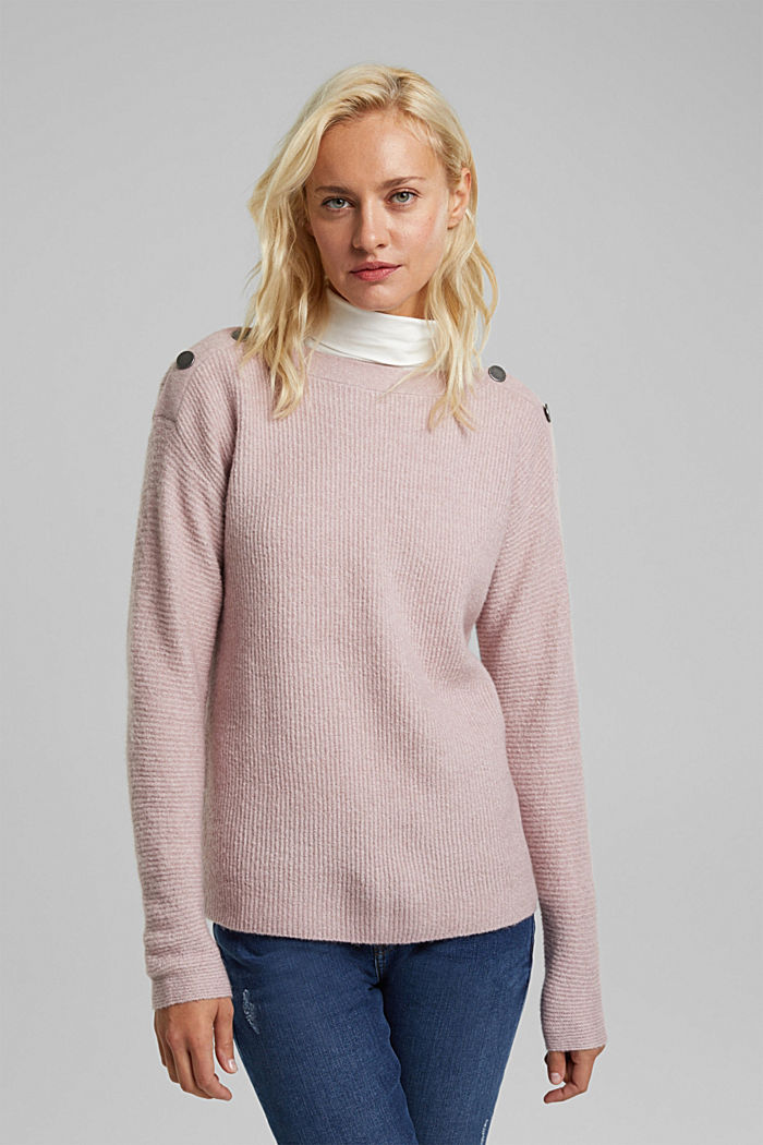 Wool blend: Jumper with button details, MAUVE, detail image number 0