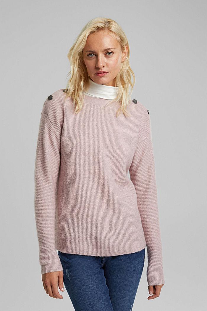Svlnou: pulovr s knoflíky, MAUVE, detail image number 0