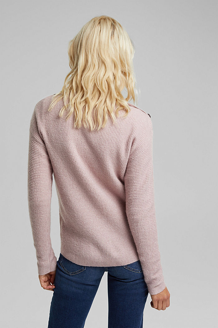 Wool blend: Jumper with button details, MAUVE, detail image number 3