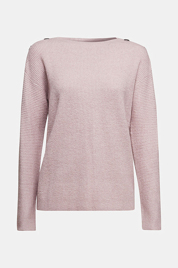 Wool blend: Jumper with button details, MAUVE, detail image number 5