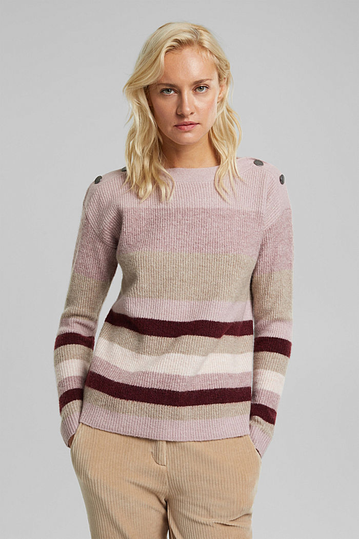 Wool blend: Jumper with button details, BORDEAUX RED, detail image number 0