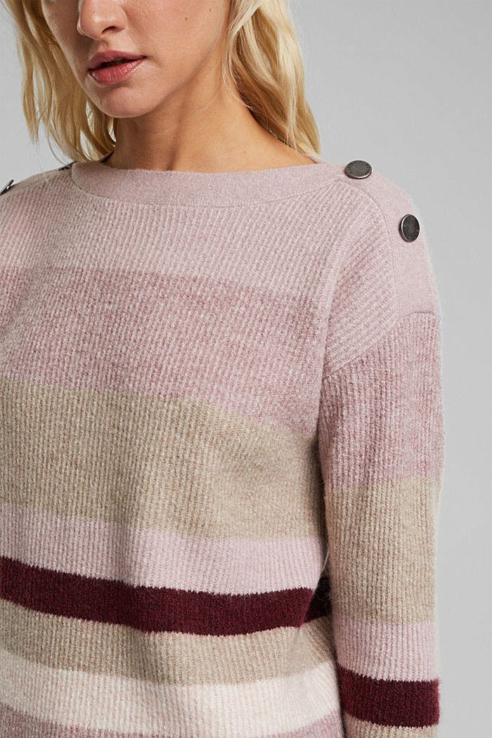 Wool blend: Jumper with button details, BORDEAUX RED, detail image number 2