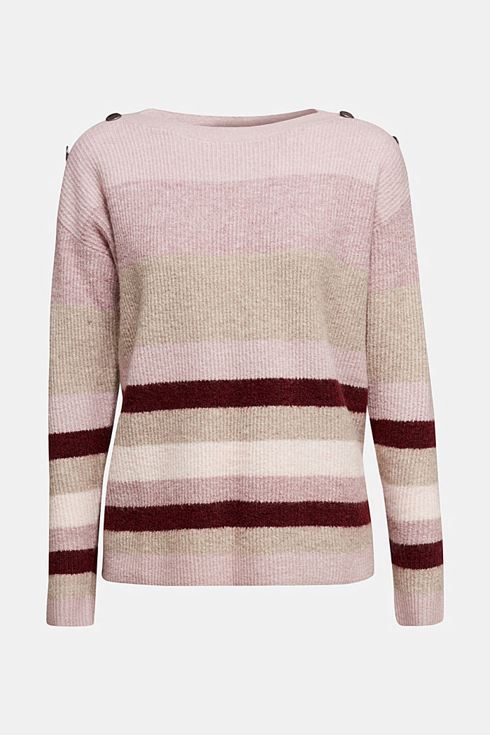 Wool blend: Jumper with button details, BORDEAUX RED, detail image number 5
