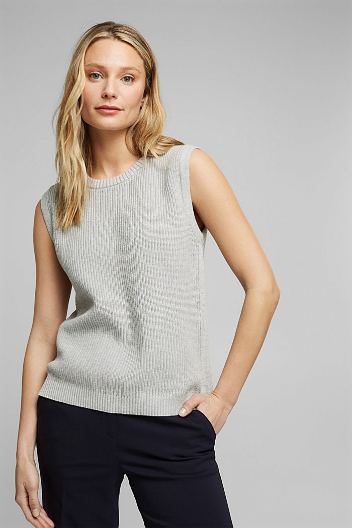 Sleeveless jumper made of 100% organic cotton, LIGHT GREY, detail image number 0