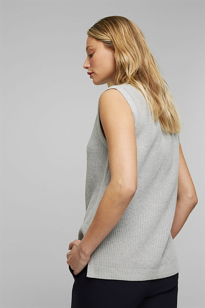 Sleeveless jumper made of 100% organic cotton, LIGHT GREY, detail image number 3