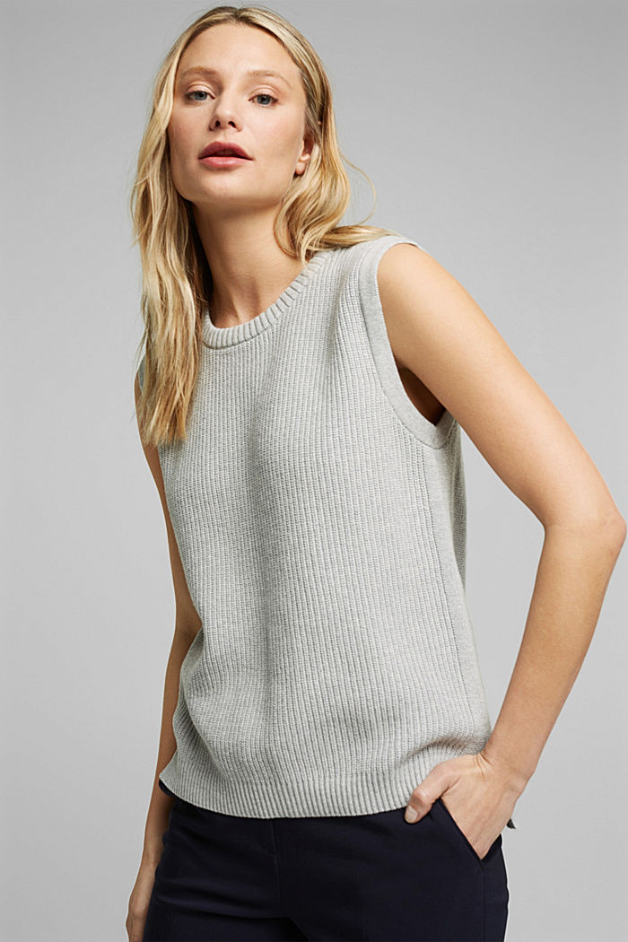 Sleeveless jumper made of 100% organic cotton, LIGHT GREY, detail image number 5