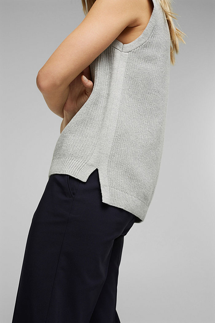 Sleeveless jumper made of 100% organic cotton, LIGHT GREY, detail image number 2