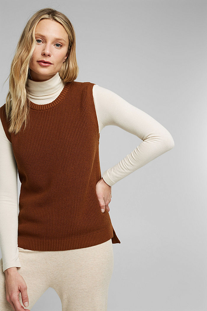 Sleeveless jumper made of 100% organic cotton, BROWN, detail image number 0
