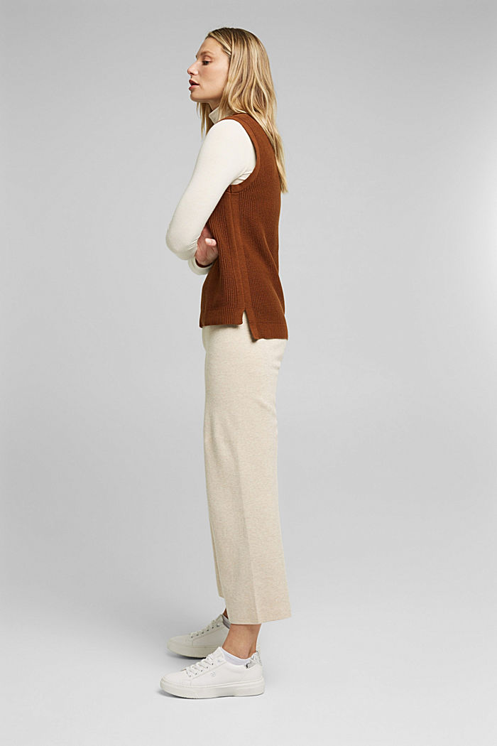Sleeveless jumper made of 100% organic cotton, BROWN, detail image number 5