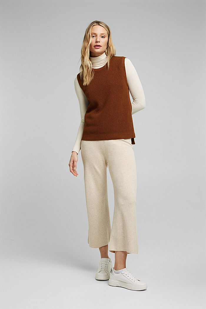 Sleeveless jumper made of 100% organic cotton, BROWN, detail image number 1