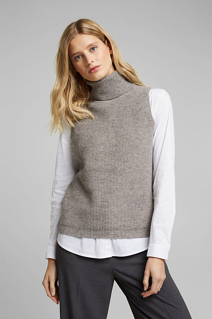 With alpaca: sleeveless jumper containing organic cotton, MEDIUM GREY, detail image number 0