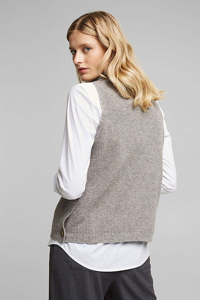 With alpaca: sleeveless jumper containing organic cotton, MEDIUM GREY, detail image number 3