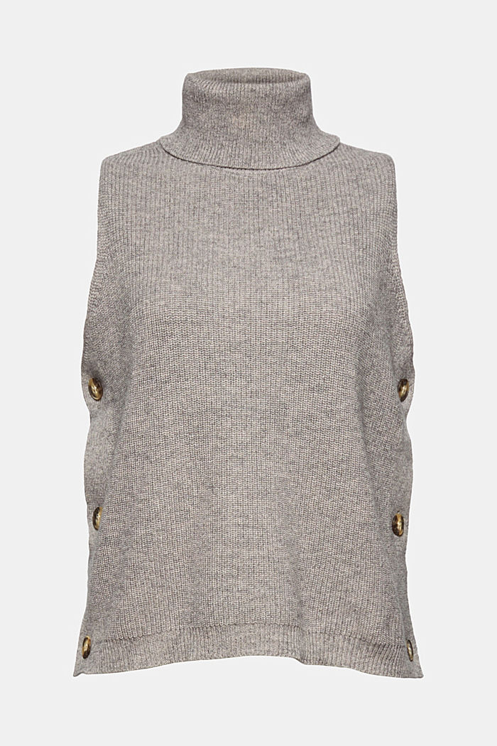 With alpaca: sleeveless jumper containing organic cotton, MEDIUM GREY, detail image number 7