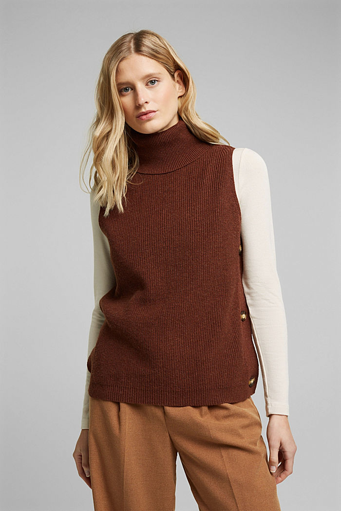 With alpaca: sleeveless jumper containing organic cotton, BROWN, detail image number 0