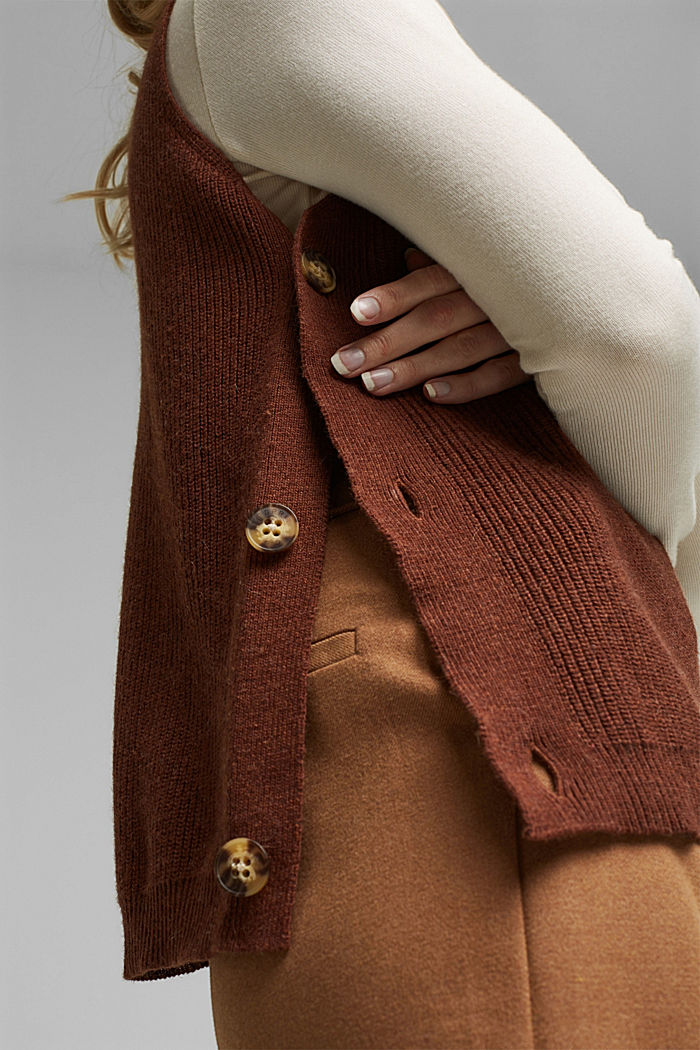 With alpaca: sleeveless jumper containing organic cotton, BROWN, detail image number 2