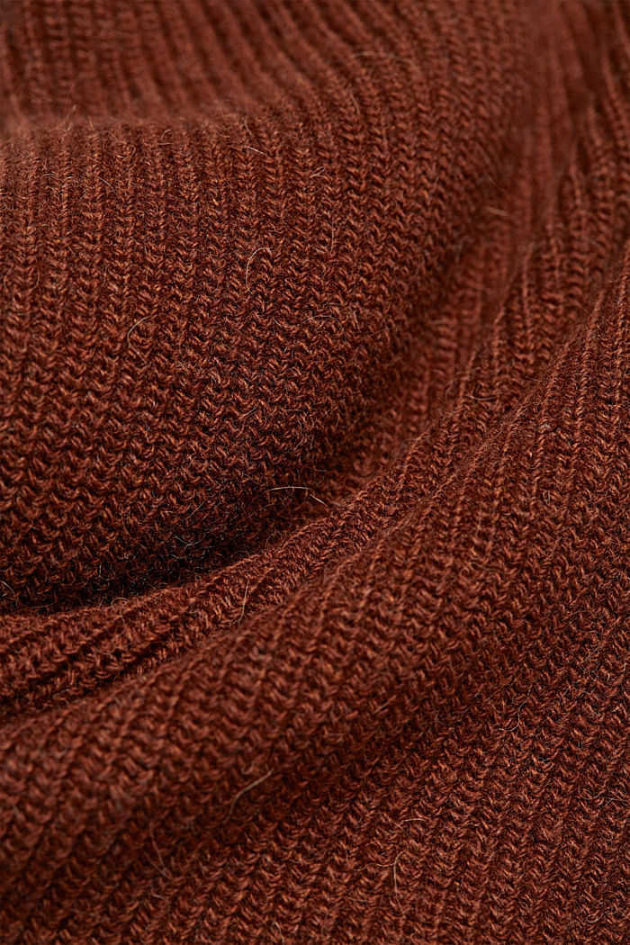 With alpaca: sleeveless jumper containing organic cotton, BROWN, detail image number 4