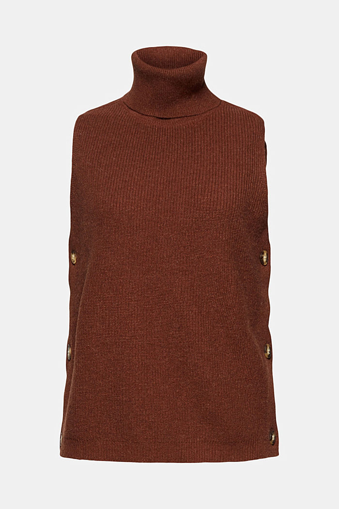 With alpaca: sleeveless jumper containing organic cotton, BROWN, detail image number 6