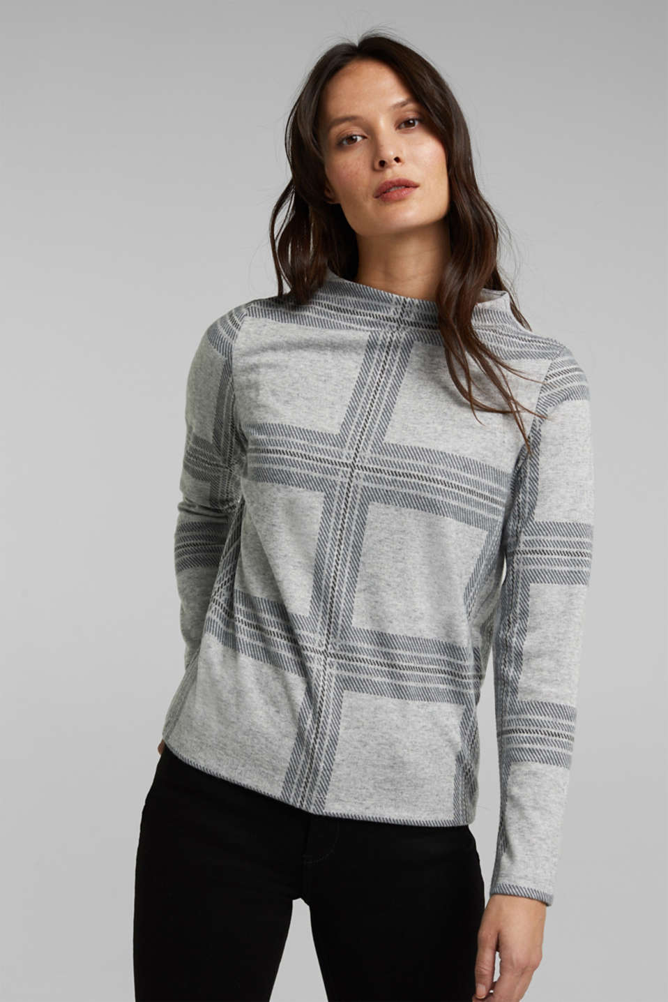 Esprit - Recycled: check flannel sweatshirt