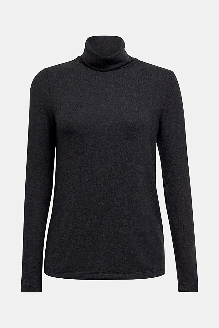 Long sleeve top with LENZING™ ECOVERO™, GUNMETAL, detail image number 6