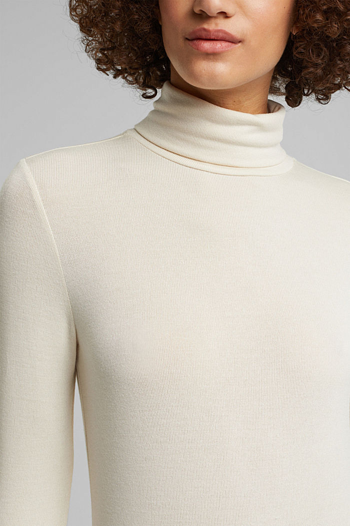 Long sleeve top with LENZING™ ECOVERO™, CREAM BEIGE, detail image number 2