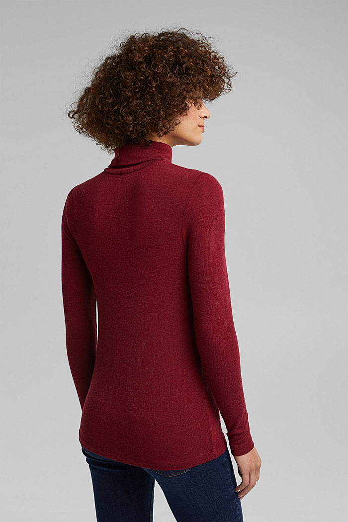 Long sleeve top with LENZING™ ECOVERO™, BORDEAUX RED, detail image number 3