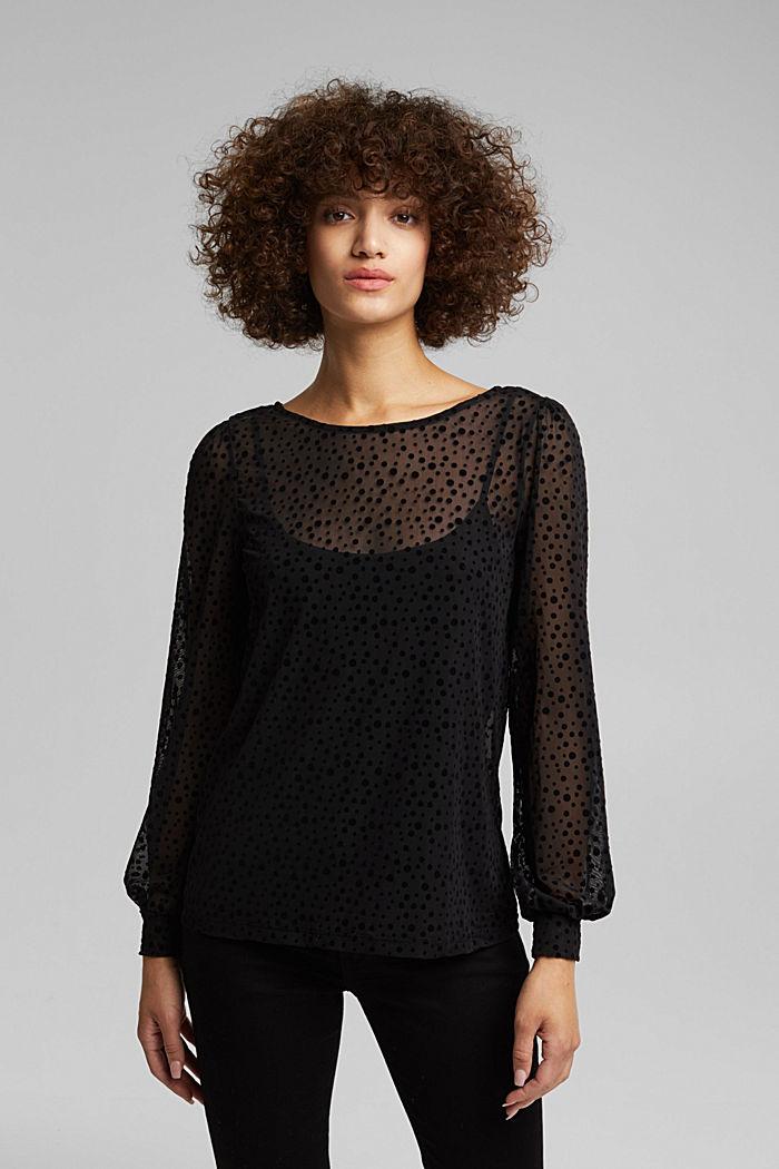 Mesh long sleeve top with velvet dots, BLACK, detail image number 0