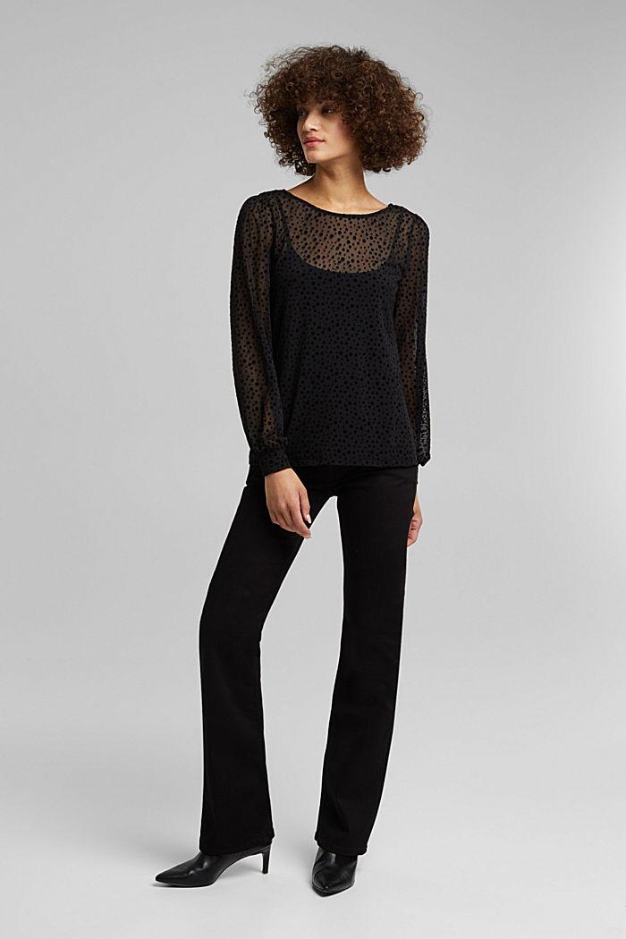 Mesh long sleeve top with velvet dots, BLACK, detail image number 1