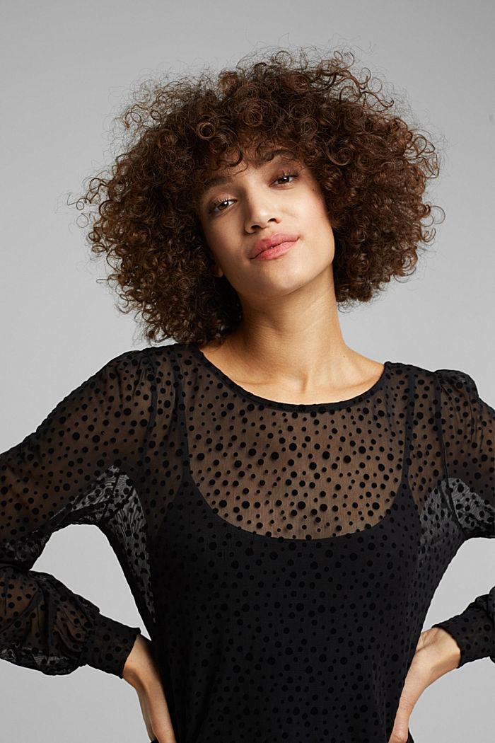 Mesh long sleeve top with velvet dots, BLACK, detail image number 5