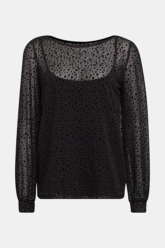 Mesh long sleeve top with velvet dots, BLACK, detail image number 6