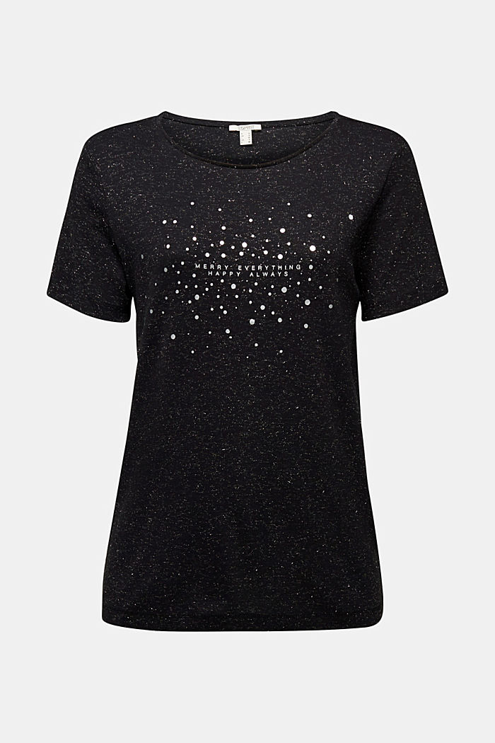 Glittering T-shirt containing organic cotton