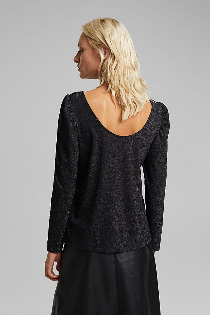 Glittering jersey long sleeve top, BLACK, detail image number 3