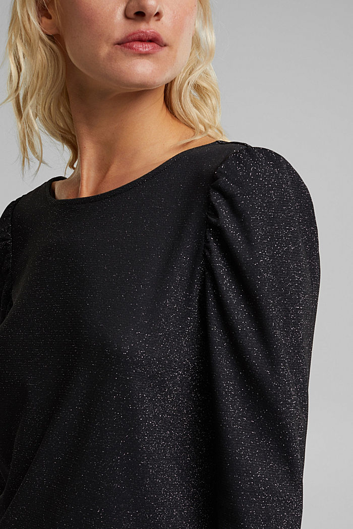 Glittering jersey long sleeve top, BLACK, detail image number 2