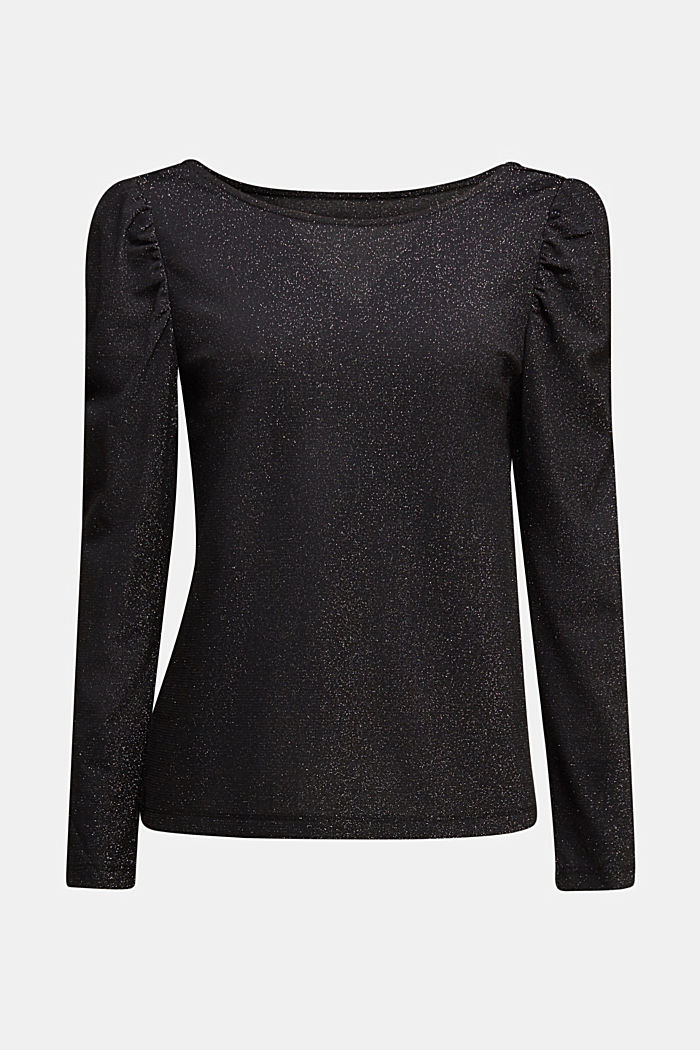 Glittering jersey long sleeve top, BLACK, detail image number 5