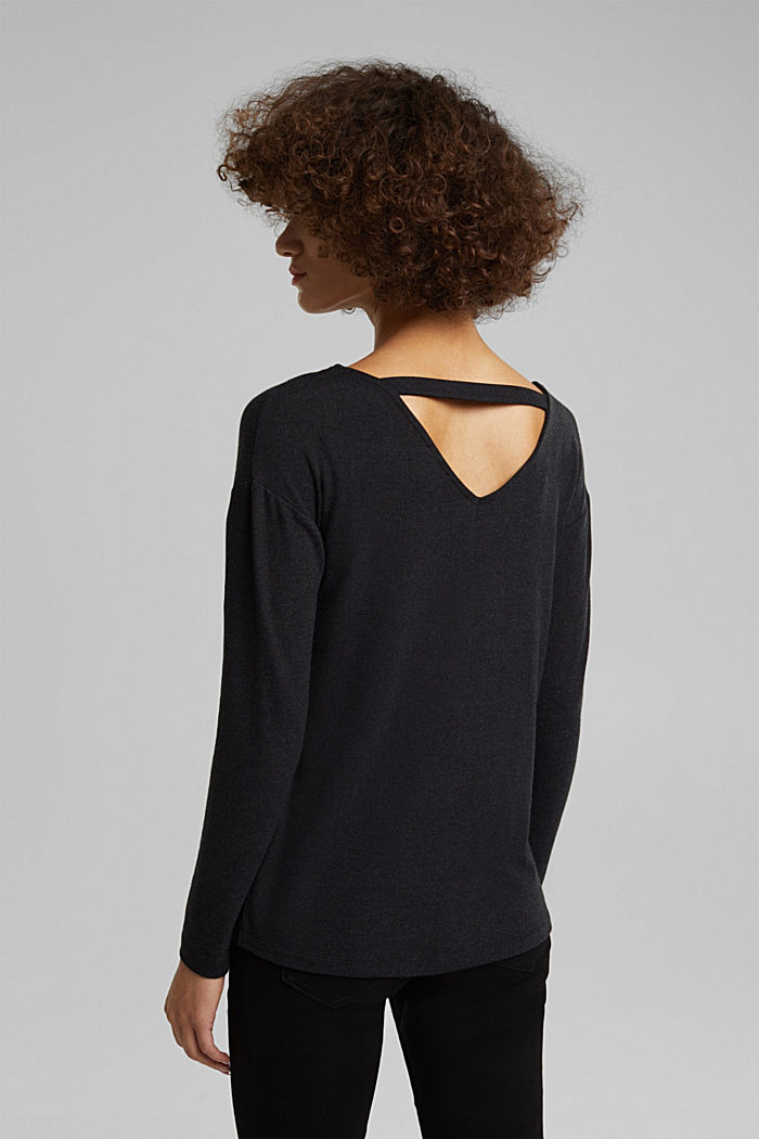 Jersey long sleeve top with LENZING™ ECOVERO™, GUNMETAL, detail image number 3
