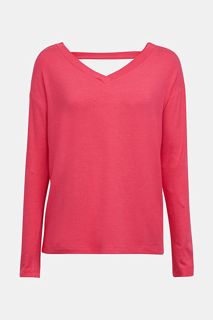 Jersey long sleeve top with LENZING™ ECOVERO™, PINK FUCHSIA, detail image number 6