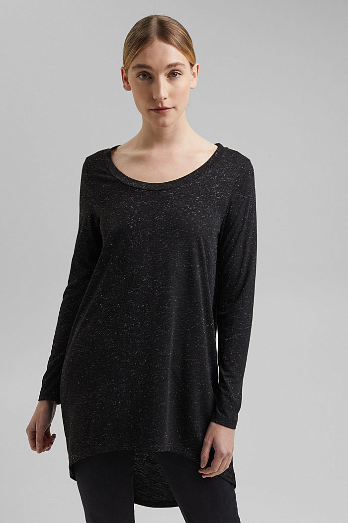 Long, long sleeve top with a glittering finish, GUNMETAL, detail image number 0