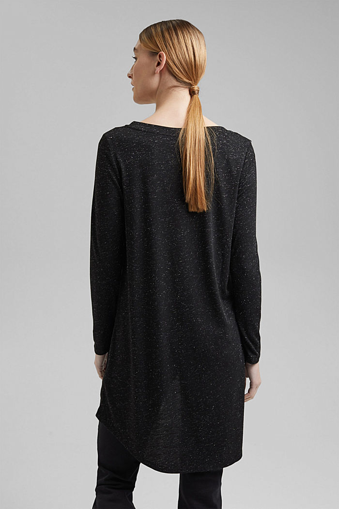 Long, long sleeve top with a glittering finish, GUNMETAL, detail image number 3